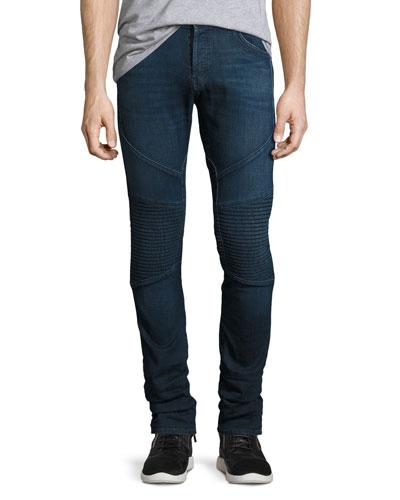 Bearden Moto Slim-Fit Jeans, Navy