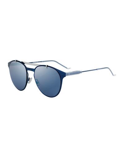 Men's Metal Pilot Sunglasses, Blue