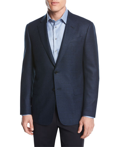 b04240031 Textured Wool Two-Button Sport Coat, Blue Quick Look. Giorgio Armani