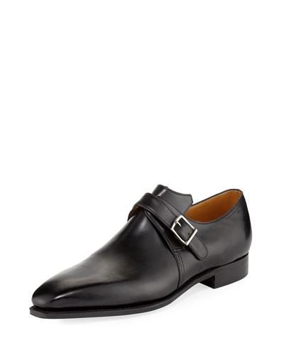 Arca Calf Leather Monk Shoe, Black