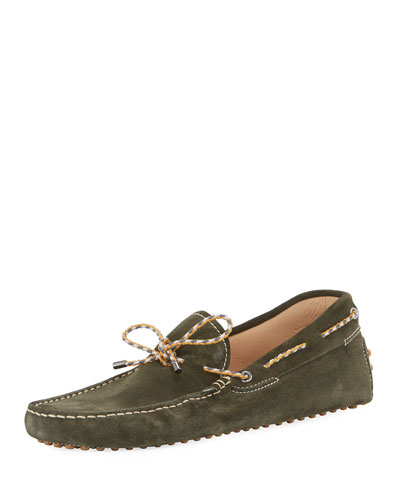 Gommini Suede Driver with Braided Tie, Green