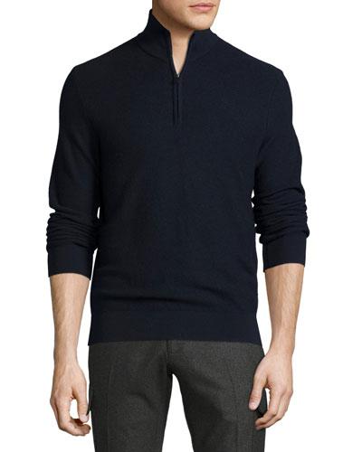 Piqué Quarter-Zip Pullover, Navy