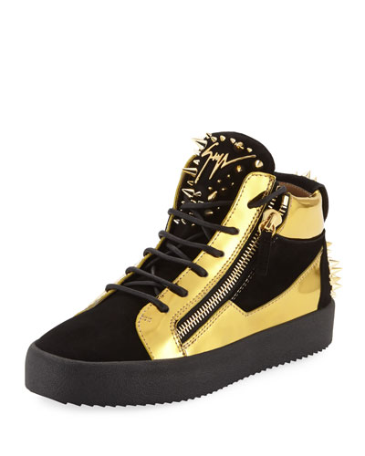 Men's Studded Suede & Metallic Leather High-Top Sneaker