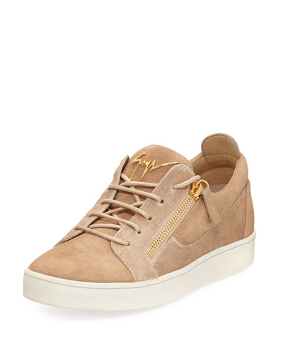 Men's Suede & Calf Hair Double-Zip Low-Top Sneaker