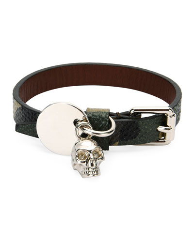 Men's Leather Skeleton Charm Bracelet, Black