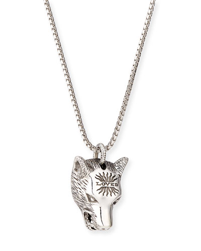 Angry Forest Men's Wolf Head Sterling Silver Necklace