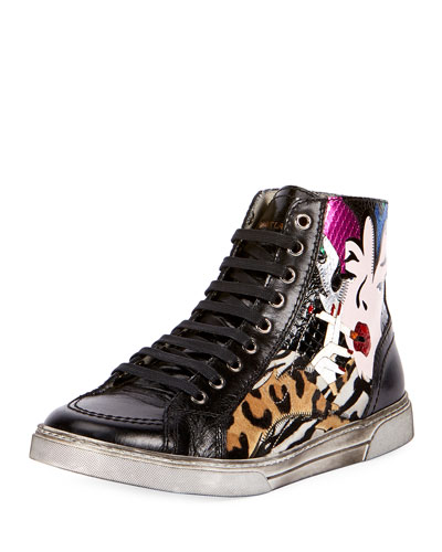 Antibes Patchwork Leather High-Top Sneaker, Multicolor