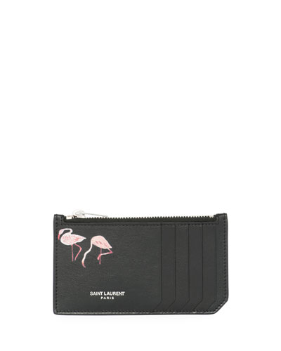Fragment Flamingo-Print Leather Zip Card Case, Black