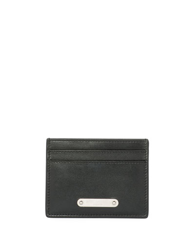 Classic Plaque Leather Card Case, Black