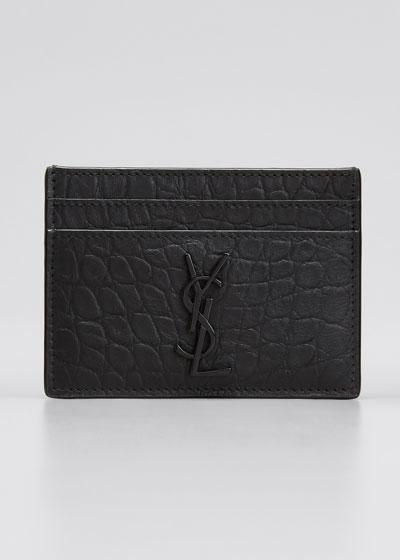 YSL Monogram Croc-Embossed Leather Card Case, Black