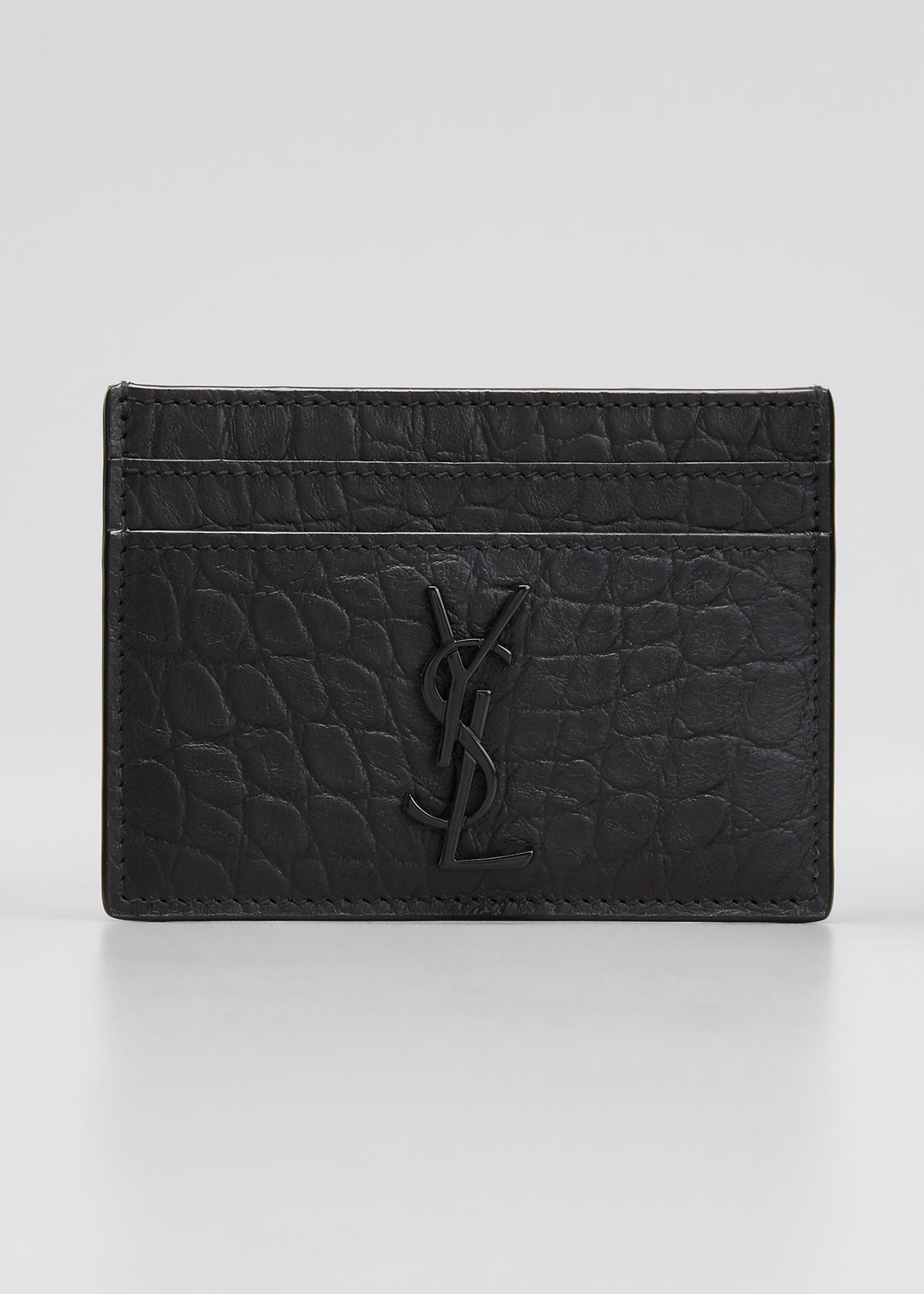 Saint Laurent YSL MONOGRAM CROC-EMBOSSED LEATHER CARD CASE, BLACK