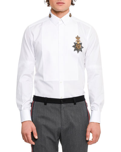 Crown Medal Embroidered Tuxedo Shirt, White