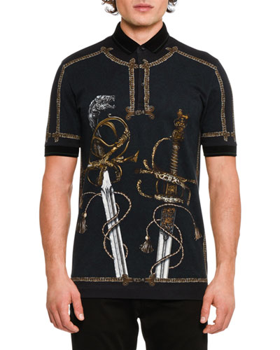 Military Swords Cotton Polo Shirt, Black/Multicolor