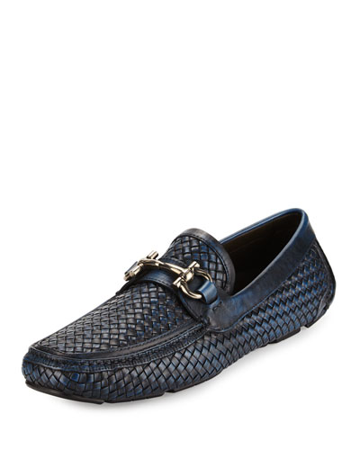 Braided Calfskin Gancini Driver, Antiqued Navy