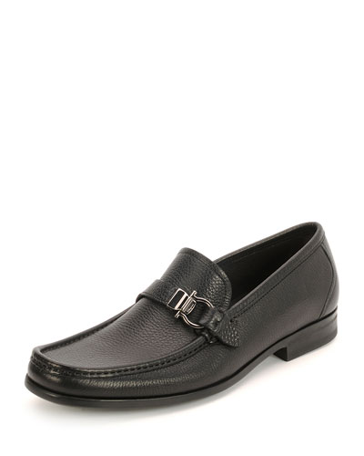 Muller Textured Calfskin Side Gancio Loafer, Black