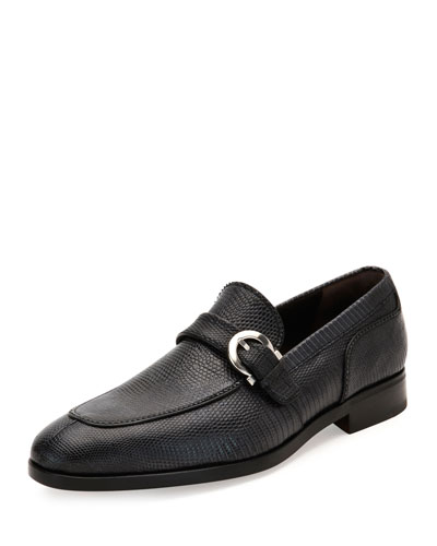Lizard Gancio-Buckle Loafer, Graphite