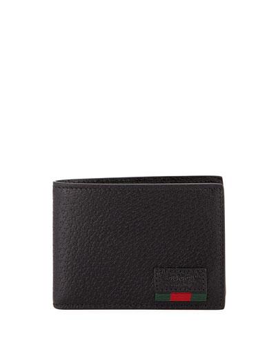 Leather Bi-Fold Wallet with Web, Black