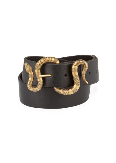 Gucci Leather Snake-Buckle Belt