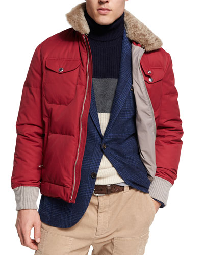 Down Jacket with Shearling Collar, Red/Brown