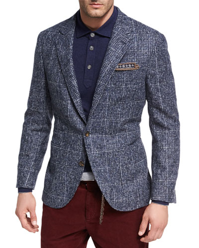 Houndstooth Boucle Sport Jacket, Medium Blue