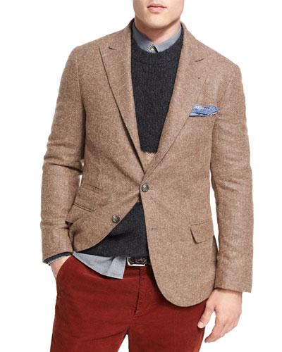 Alpaca-Wool Sport Jacket, Light Brown