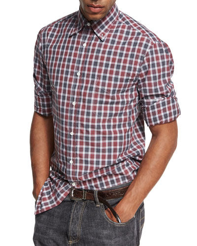 Madras Plaid Cotton Oxford Shirt, Red