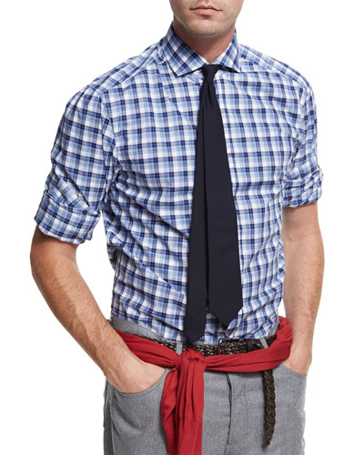 Micro-Madras Plaid Cotton Shirt, Blue/White