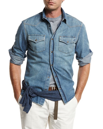 Western-Style Button-Down Denim Shirt