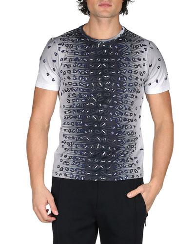 Jaguar-Print Cotton Jersey T-Shirt, Black