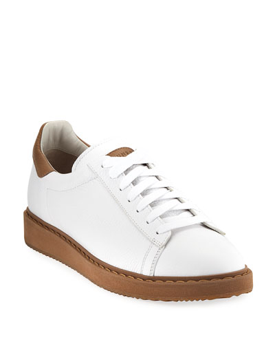Icaro Leather Low-Top Sneaker, White