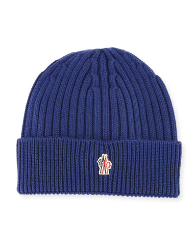 Ribbed Wool Logo Beanie Hat