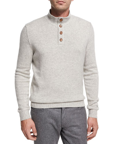 Cashmere Button-Neck Pullover, White/Gray