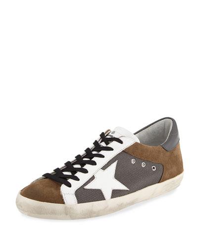 Men's Suede & Mesh Star Low-Top Sneaker, Gray
