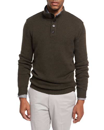 Cashmere Button-Neck Pullover, Olive