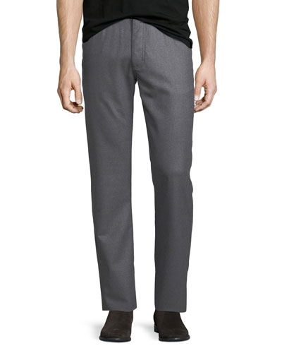 Stretch-Flannel Five-Pocket Pants, Medium Gray