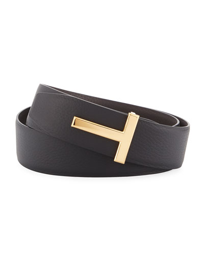 T-Buckle Reversible Leather Belt, Black