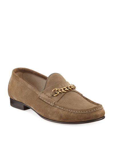 Suede Chain-Link Loafer, Tan