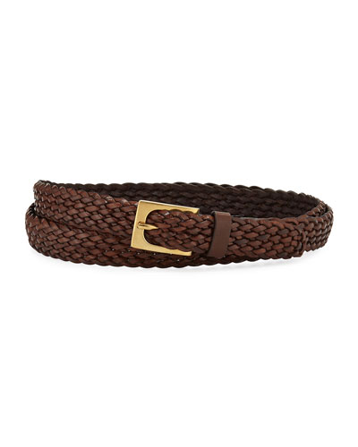Men's Woven Leather Belt