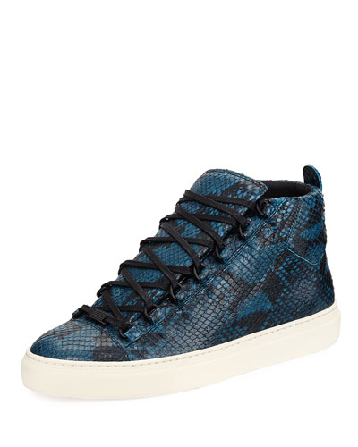 Men's Arena Python-Embossed Leather High-Top Sneaker