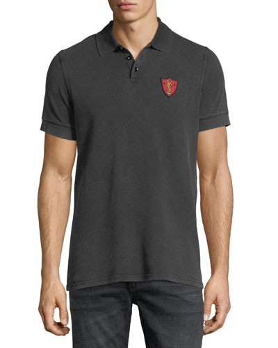 Washed Pique Polo Shirt with Shield Patch