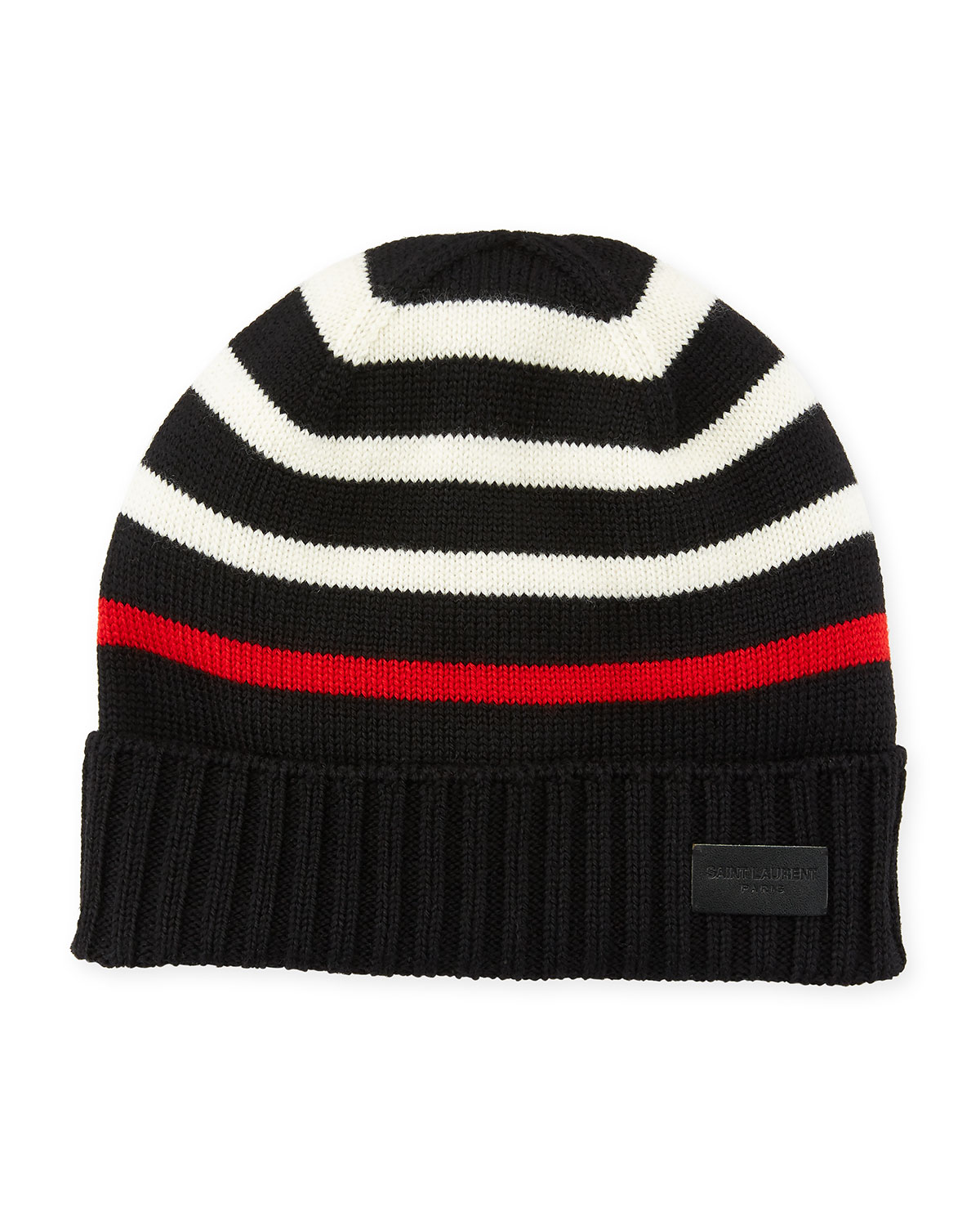 striped knitted beanie - Black Saint Laurent GSYbciuy