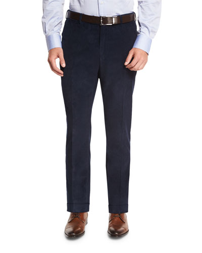 Corduroy Flat-Front Trousers, Blue
