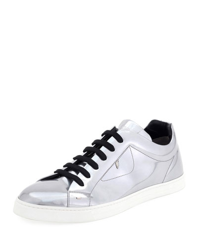 Bag Bugs Metallic Leather Low-Top Sneaker, Silver