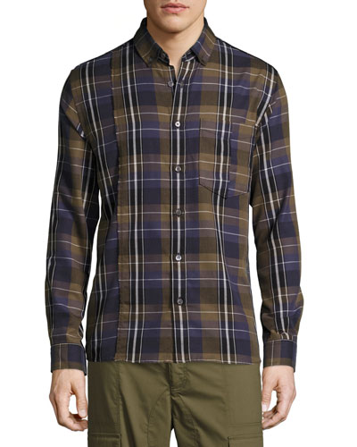 Retro Plaid Cotton Exposed-Seam Shirt