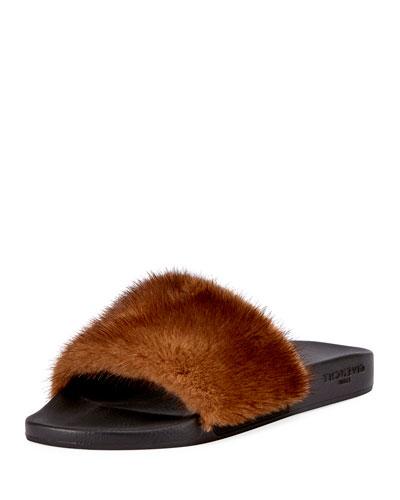 Men's Mink Fur Slide Sandal, Brown