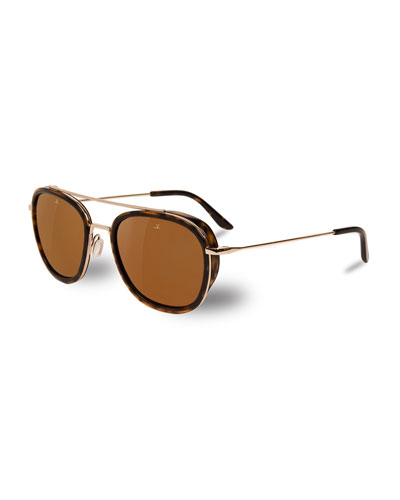 Edge Rectangular Aviator Polarized Sunglasses, Tortoiseshell/Gold