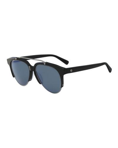 38bb66d44 Acetate & Metal Aviator Sunglasses, Black
