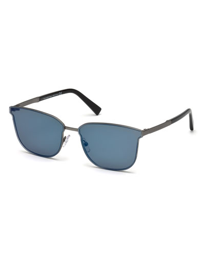 Rectangular Chevron Sunglasses, Blue