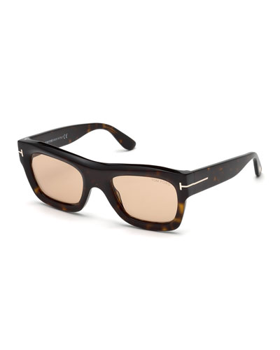 Wagner Thick Square Sunglasses, Dark Brown Havana