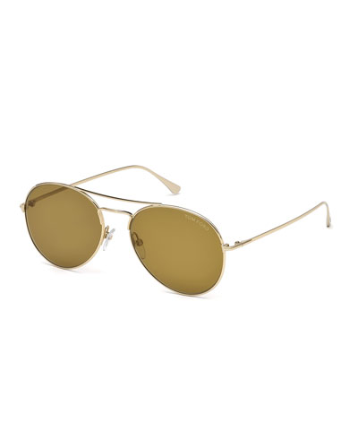 Ace Metal Pilot Sunglasses, Rose Golden/Brown